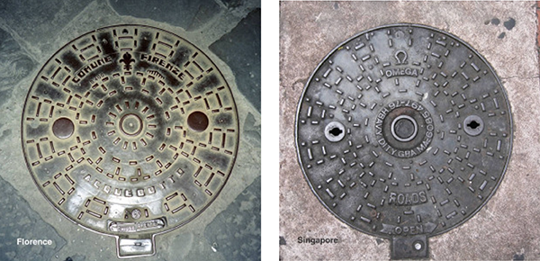 Florence and Singapore Manhole Cover