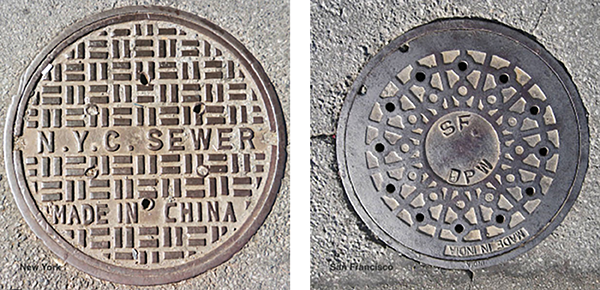 New York and San Francisco Manhole Covers