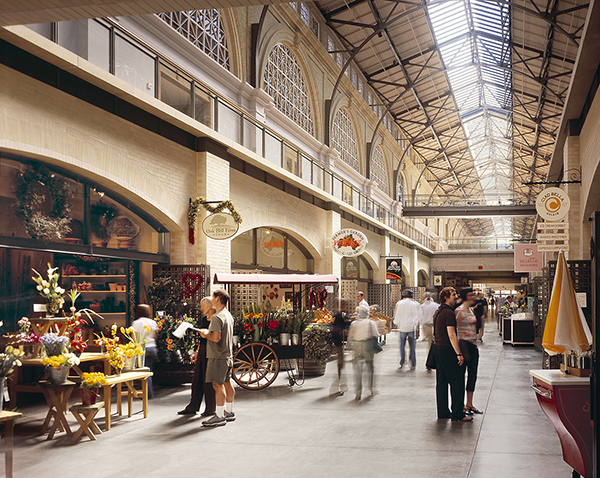 "Interior of the Ferry Building; ""urban"" street"