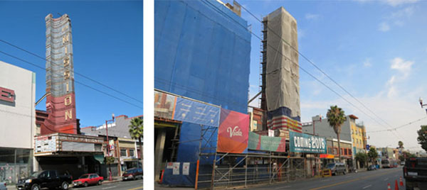 New Mission Theater Before and During Construction